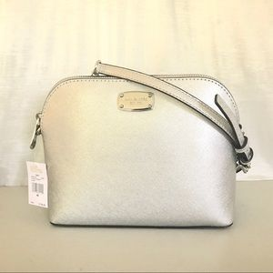 5830190e6cdf Michael Kors Bags - Authentic MK Cindy dome silver leather crossbody